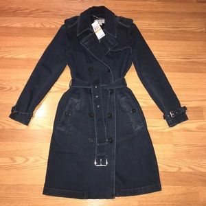 Michael Kors denim navy trench coat S NWT